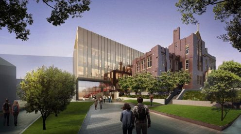 Architectus wrap historic Sydney Uni building with new bronzed SEFAR glass addition