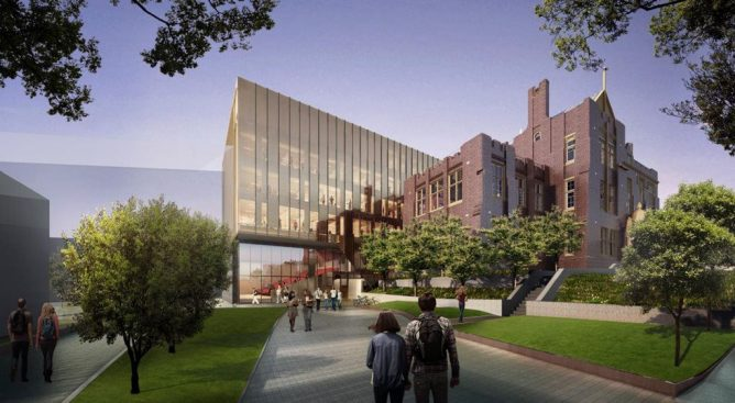 Architectus wrap historic Sydney Uni building with new bronzed SEFAR glass addition